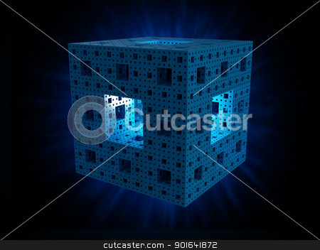 Menger sponge stock photo, The Menger sponge 3d fractal shape - technology concept background illustration by Mopic