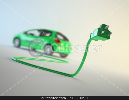 Electric vehicle concept stock photo, An electric car connected to a plug - EV transport concept by Mopic
