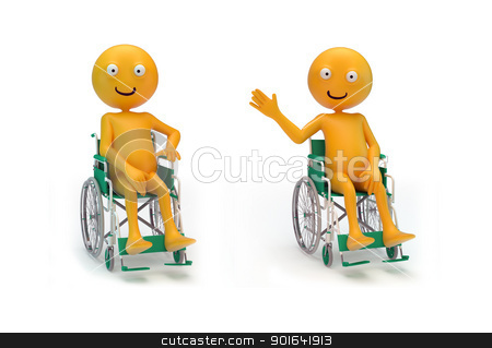Smiley characters on a wheelchair stock photo, Three smiley characters on a wheelchair by Mopic