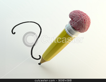 Pencil with a brain shaped eraser  stock photo, Pencil with a brain shaped eraser writing a question mark by Mopic