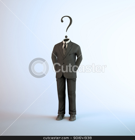 Anonymous activist group stock photo, A headless figure in a suit with a question mark - anonymous activist group symobl by Mopic