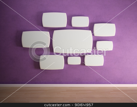 Empty panels on purple wall stock photo, Empty panels on a purple wall by Mopic