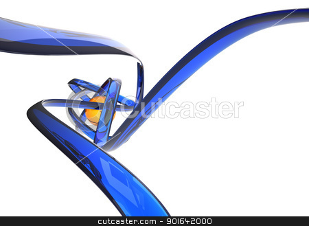 Abstract 3D illustration stock photo, Abstract 3D illustration with blue lines by Mopic