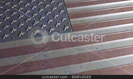 Grunge USA flag stock photo, Grunge USA flag abstract made up of metalic plates  by Mopic