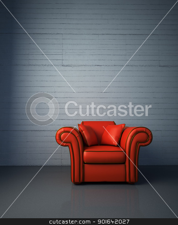 Red leather armchair stock photo, Red leather armchair with a concrete wall in the background. by Mopic