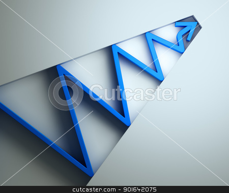 Blue 3D arrow  stock photo, Blue 3D arrow  by Mopic