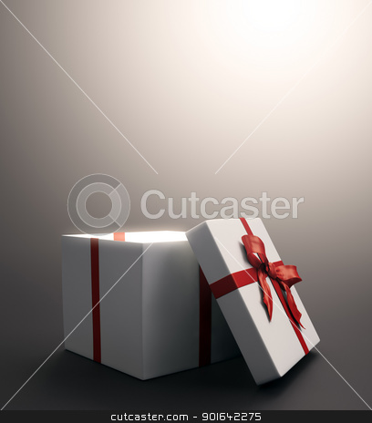 White gift with a red ribbon stock photo, White gift with a red ribbon - christmas celebration image by Mopic