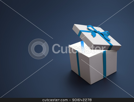 White gift with a blue ribbon stock photo, White gift with a blue ribbon - christmas celebration image by Mopic