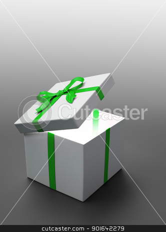 White gift with a green ribbon stock photo, White gift with a green ribbon - christmas celebration image by Mopic