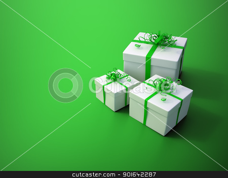 White gifts with a green ribbon stock photo, White gift with a green ribbon - christmas celebration image by Mopic