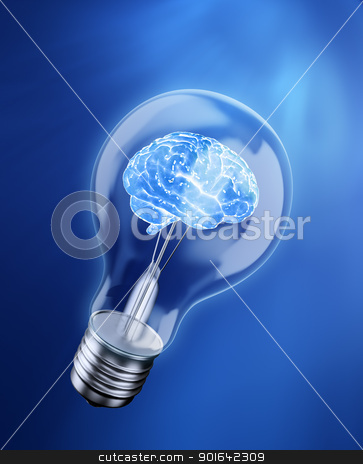 Brain in a bulb stock photo, Brain in a bulb - idea concept by Mopic