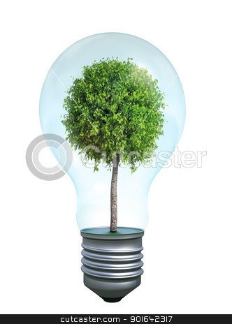Green bulb stock photo, Green bulb - ecology and renewable energy symbol  by Mopic