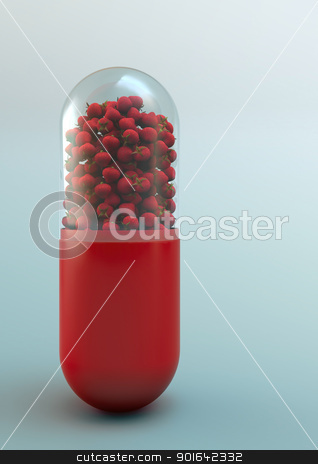 strawberries inside a pill stock photo, strawberries inside a pill - fruits and vitamins concept  by Mopic