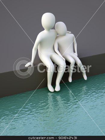 Two huging cg characters  stock photo, Two huging cg characters seating near the water by Mopic