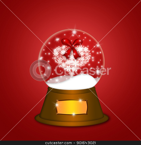 Water Snow Globe with Snowflakes Heart Red stock photo, Christmas Water Snow Globe with Snowflakes Heart Illustration on Red Background by Jit Lim