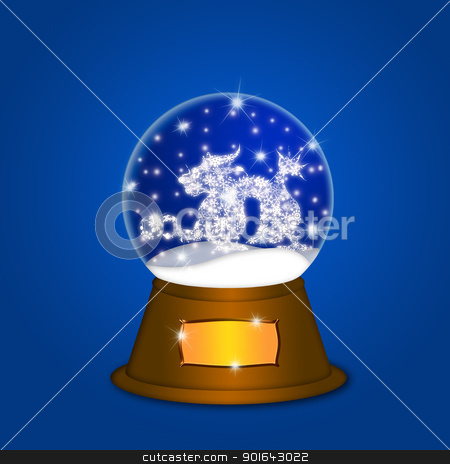 Water Snow Globe with Chinese Dragon Blue stock photo, Water Snow Globe with Chinese Dragon and Ball Illustration on Blue Background by Jit Lim