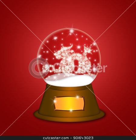 Water Snow Globe with Chinese Dragon Red stock photo, Water Snow Globe with Chinese Dragon and Ball Illustration on Red Background by Jit Lim