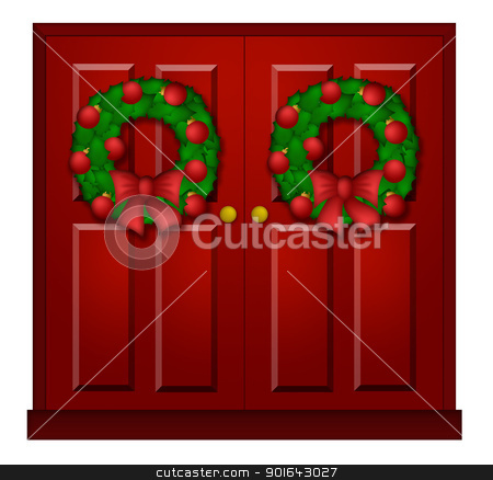 Red Door with Christmas Wreath Illustration stock photo, House Red Door with Christmas Wreath Ornaments and Bow Illustration by Jit Lim