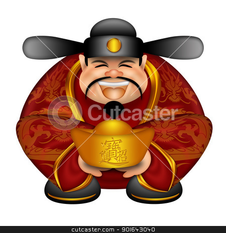 Chinese Money God With Gold Bars stock photo, Chinese Prosperity Money God with Text Bringing in Wealth and Treasure on Gold Bar Illustration Isolated on White Background by Jit Lim
