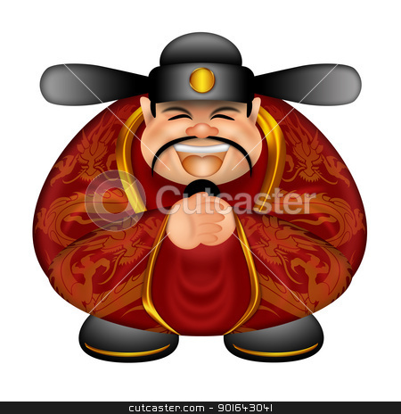 Chinese Money God Wishing Happy New Year stock photo, Chinese Prosperity Money God Wishing Happy Lunar New Year Illustration Isolated on White Background by Jit Lim
