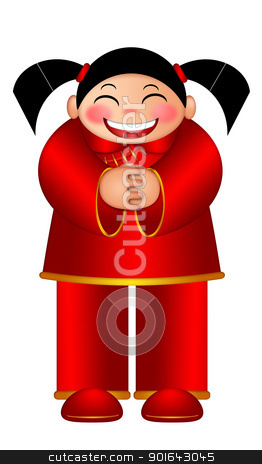 Chinese Girl Wishing Happy New Year Illustration stock photo, Chinese Girl Wishing Happy Lunar New Year Illustration Isolated on White Background by Jit Lim