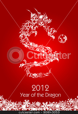 2012 Flying Chinese Snowflakes Pattern Dragon with Ball stock photo, 2012 Flying Chinese Snowflakes Pattern year of the Dragon with Ball on Red Background Illustration by Jit Lim