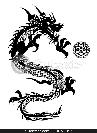 2012 Flying Chinese Dragon with Ball Clipart stock photo, 2012 Flying Chinese New Year of the Dragon with Ball and Fish Scales on White Background Illustration by Jit Lim