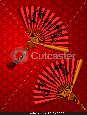 Chinese New Year Dragon Fans on Scales Pattern Background stock photo, Chinese Fans with Dragon Text Calligraphy and Prosperity Word on Tag on Red Scales Background Illustration by Jit Lim