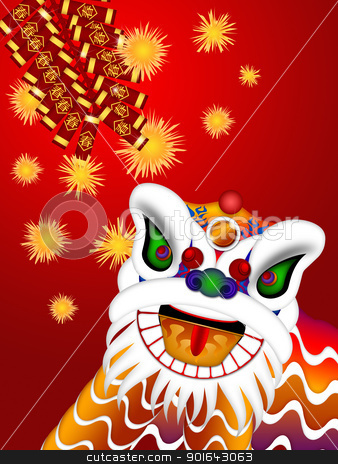 Chinese Lion Dance Head with Firecrackers Illustration stock photo, Chinese Lion Dance Colorful Ornate Head and Firecrackers with Spring Text Illustration on Red Background by Jit Lim