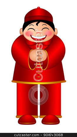 Chinese Boy Wishing Happy New Year Illustration stock photo, Chinese Boy Wishing Happy Lunar New Year Illustration Isolated on White Background by Jit Lim