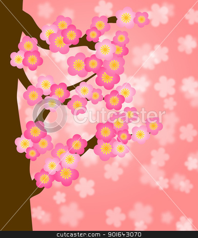 Flowering Cherry Blossom Tree in Spring stock photo, Flowering Cherry Blossom Tree in Spring Season Illustration by Jit Lim