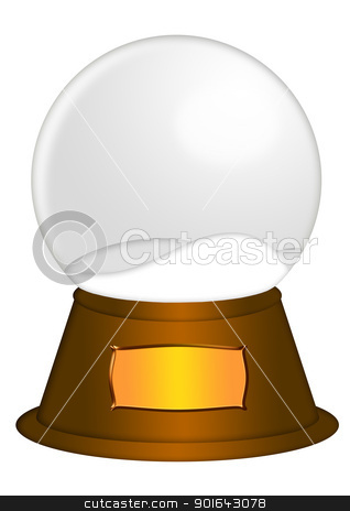 Water Snow Globe with Blank Title Plaque stock photo, Christmas Water Snow Globe with Blank Title Plaque Illustration Isolated on White Background by Jit Lim
