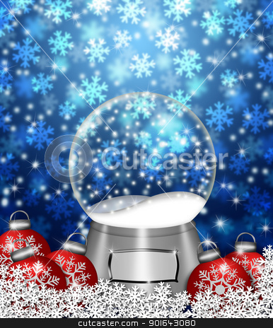 Snow Globe Blank and Christmas Tree Ornaments stock photo, Water Snow Globes Blank Snowflakes and Christmas Tree Ornaments Illustration on Blue Background by Jit Lim