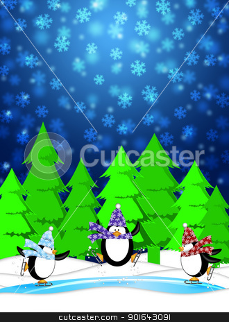 Penguins in Ice Skating Rink Winter Snowing Scene Blue Illustrat stock photo, Three Penguins Skating in Ice Rink Snowing Winter Scene Illustration Blue Background by Jit Lim