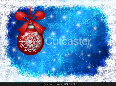 Hanging Christmas Ornament with Snowflakes Border Blue Backgroun stock photo, Hanging Red Christmas Tree Ornament with Snowflakes Border and Blue Blurred Background Illustration by Jit Lim