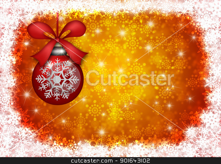 Hanging Christmas Ornament with Snowflakes Border Illustration stock photo, Hanging Christmas Tree Ornament with Snowflakes Border and Blurred Background Illustration by Jit Lim
