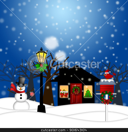 House with Lamp Post  Snowman and Birdhouse Christmas Decoration stock photo, House with Lamp Post Snowman and Birdhouse Christmas Decoration in Snowing Winter Scene Landscape Illustration by Jit Lim