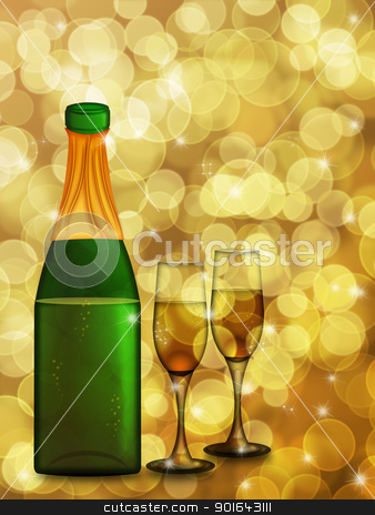 Champagne Bottle and Two Glass Flutes stock photo, Champagne Bottle with Two Glass Flutes on Blurred Background Illustration by Jit Lim