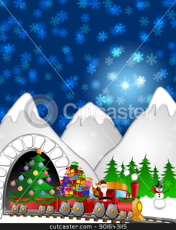 Santa Reindeer Snowman on Train In Winter Scene stock photo, Santa Claus and Reindeer Delivering Gifts in Red Train with Snowman and Christmas Tree  in Winter Scene Illustration by Jit Lim