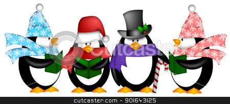 Penguins Singing Christmas Carol Cartoon Clipart stock photo, Cute Penguins Singing Carol Christmas Songs with Scarf and Hat Cartoon Illustration by Jit Lim