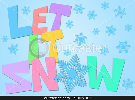Let It Snow Freehand Drawn Text with Snowflakes Color stock photo, Let It Snow Freehand Drawn Text with Snowflake Clipart in Pastel Color Illustration by Jit Lim