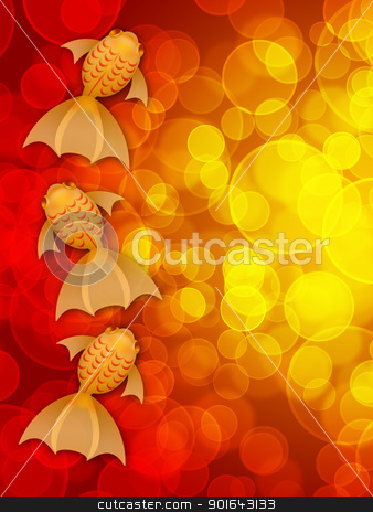 Three Fancy Goldfish on Red Blurred Background stock photo, Chinese New Year Three Fancy Goldfish Illustration on Red Blurred Background by Jit Lim