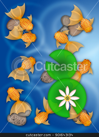 Fancy Goldfish Swimming in Pond Illustration stock photo, Fancy Goldfish Swimming in Pond with Lily Pad Flower and Pebbles Illustration by Jit Lim