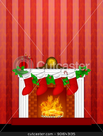 Fireplace Christmas Decoration wth Stockings and Wallpaper stock photo, Fireplace Christmas Decoration with Garland Stocking Pillar Candles and Mantel Clock  on Red Wallpaper Background Illustration by Jit Lim