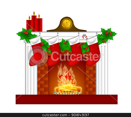 Fireplace Christmas Decoration wth Stockings and Garland stock photo, Fireplace Christmas Decoration with Garland Stocking Pillar Candles and Mantel Clock Illustration by Jit Lim