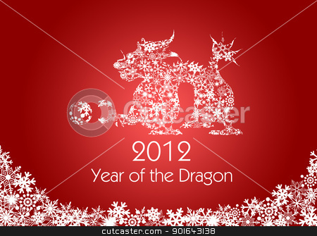 Chinese New Year Dragon with Snowflakes Pattern Red stock photo, 2012 Chinese New Year Dragon with Snowflakes Pattern on Red Background by Jit Lim