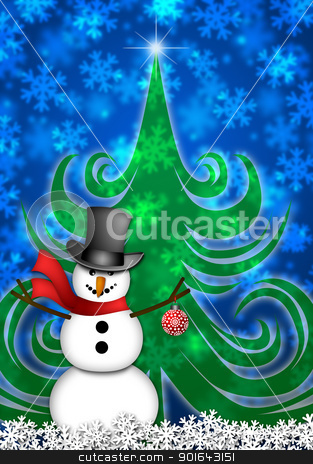 Snowman in Winter Snow Scene stock photo, Snowman with Red Scarf and Ornament in Winter Snow Scene with Christmas Tree and Snowflakes Illustration by Jit Lim