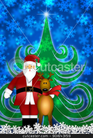 Santa and Reindeer in Winter Snow Scene stock photo, Santa Claus and Reindeer in Winter Snow Scene with Christmas Tree and Snowflakes Illustration by Jit Lim