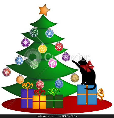 Christmas Tree with Presents Ornaments and Cat stock photo, Christmas Tree with Ornaments and Cat Sitting on Presents Illustration by Jit Lim