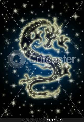 Celestial Chinese Dragon in the Night Sky stock photo, Zodiac Chinese Dragon Flying in the Celestial Starry Night Sky Illustration by Jit Lim